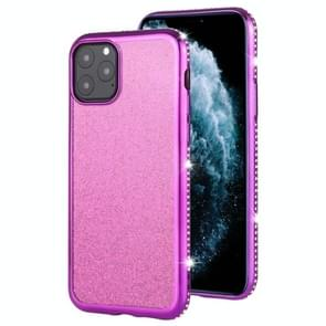 For iPhone 11 Pro Max Diamond Encrusted Flash Powder TPU Case(Purple)