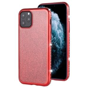 For iPhone 11 Pro Max Diamond Encrusted Flash Powder TPU Case(Red)