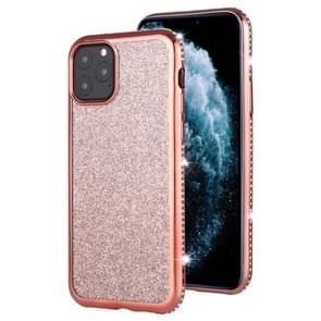 For iPhone 11 Pro Max Diamond Encrusted Flash Powder TPU Case(Rose Gold)