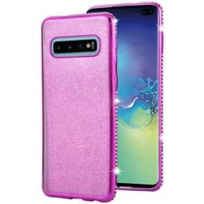 Voor Galaxy S10 Diamond encrusted Flash poeder TPU case (paars)