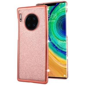 For Huawei Mate 30 Pro Diamond Encrusted Flash Powder TPU Case(Rose Gold)
