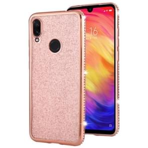 For Xiaomi Redmi Note 7 Diamond Encrusted Flash Powder TPU Case(Rose Gold)