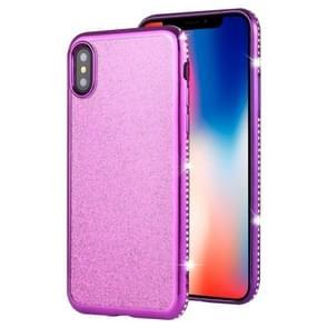 For iPhone XS / X Diamond Encrusted Flash Powder TPU Case(Purple)