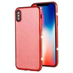 For iPhone XS / X Diamond Encrusted Flash Powder TPU Case(Red)