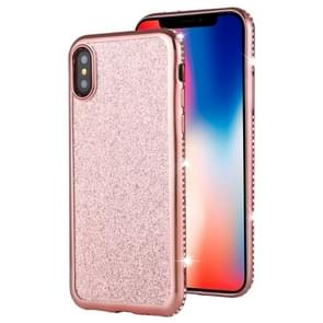 For iPhone XS / X Diamond Encrusted Flash Powder TPU Case(Rose Gold)