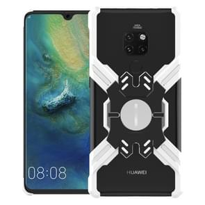 For Huawei Mate 20 Pro Hero Series Anti-fall Wear-resistant Metal Protective Case with Bracket(Silver Black)