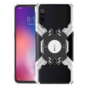 Voor Xiaomi mi 9 Hero-serie anti-val slijtvaste metalen beschermhoes met beugel (zilver zwart)