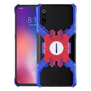 Voor Xiaomi Mi 9 Hero Series Anti-fall Slijtvast Metalen beschermhoes met beugel (Blauw Rood)