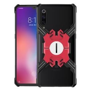 Voor Xiaomi Mi 9 Hero Series Anti-fall Slijtvast Metalen beschermhoes met beugel (Zwart Rood)