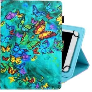 8 inch universele gekleurde tekening horizontale Flip PU lederen draagtas met houder & kaartsleuf (groene vlinder)