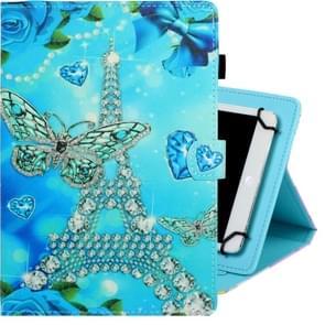 8 inch universele gekleurde tekening horizontale Flip PU lederen draagtas met houder & kaartsleuf (vlinder toren)
