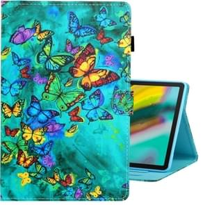 For Galaxy Tab S6 T860 Colored Drawing Horizontal Flip PU Leather Case with Holder & Card Slot & Sleep / Wake-up Function(Green Butterfly)