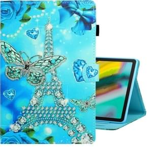 For Galaxy Tab S6 T860 Colored Drawing Horizontal Flip PU Leather Case with Holder & Card Slot & Sleep / Wake-up Function(Butterfly Tower)