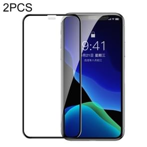 2 PCS Baseus 0.3mm Full Screen Curved Edge Cellular Dust Tempered Glass Film For iPhone 11 Pro / XS / X