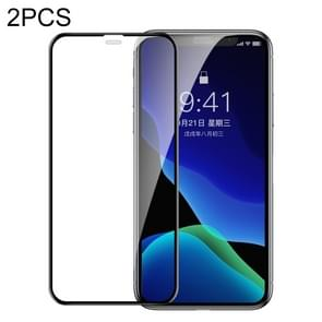 2 PCS Baseus 0.3mm Full Screen Curved Edge Cellular Dust Tempered Glass Film For iPhone 11 / XR