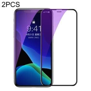 2 PCS Baseus 0.3mm Full Screen Curved Edge Cellular Dust Anti Blue-ray Tempered Glass Film For iPhone 11 Pro / XS / X