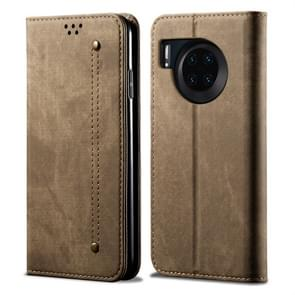 For Huawei Mate 30 Denim Texture Casual Style Horizontal Flip Leather Case with Holder & Card Slots & Wallet(Khaki)