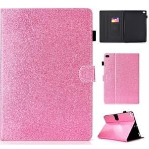 For iPad Air / Air 2 / iPad 9.7 Varnish Glitter Powder Horizontal Flip Leather Case with Holder & Card Slot(Pink)
