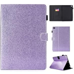 Voor iPad Air / Air 2 / iPad 9.7 Varnish Glitter Powder Horizontal Flip Leather Case met Holder & Card Slot(Purple)