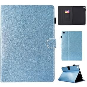 Voor iPad Air / Air 2 / iPad 9.7 Varnish Glitter Powder Horizontal Flip Leather Case met Holder & Card Slot(Blauw)