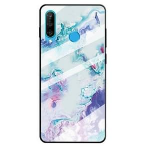For Huawei P30 Lite Marble Pattern Glass Protective Case(Ink Purple)