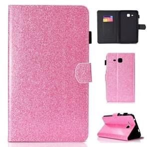 Voor Galaxy Tab A 7.0 (2016) T280 Varnish Glitter Powder Horizontal Flip Leather Case met Holder & Card Slot(Pink)