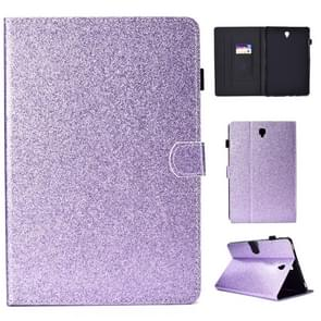 For Galaxy Tab S4 10.5 T830 Varnish Glitter Powder Horizontal Flip Leather Case with Holder & Card Slot(Purple)