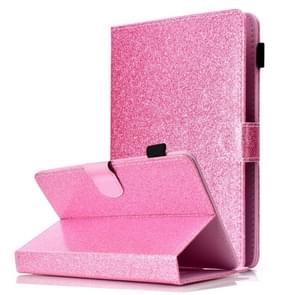 For 7 inch Tablet Varnish Glitter Powder Horizontal Flip Leather Case with Holder & Card Slot(Pink)