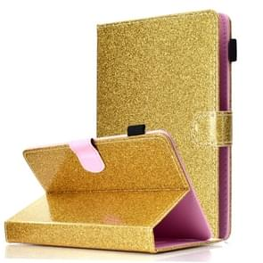 Voor 7 inch Tablet Varnish Glitter Powder Horizontal Flip Leather Case met Holder & Card Slot(Gold)