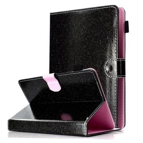Voor 7 inch Tablet Varnish Glitter Powder Horizontal Flip Leather Case met Holder & Card Slot(Zwart)