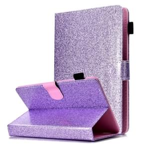 Voor 8 inch Tablet Varnish Glitter Powder Horizontal Flip Leather Case met Holder & Card Slot(Purple)