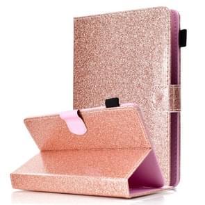 Voor 8 inch Tablet vernis glitter poeder horizontale Flip lederen draagtas met houder & kaartsleuf (Rose goud)