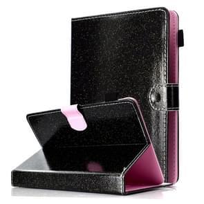 Voor 8 inch Tablet Varnish Glitter Powder Horizontal Flip Leather Case met Holder & Card Slot(Zwart)