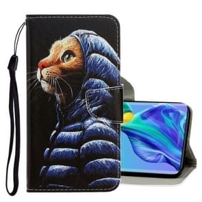 Voor Huawei mate 30 3D gekleurde tekening horizontale Flip PU lederen draagtas met houder & kaartsleuven & portemonnee (Donsjas kat)