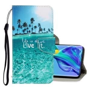 Voor Huawei mate 30 3D gekleurde tekening horizontale Flip PU lederen draagtas met houder & kaartsleuven & portemonnee (kokosnoot boom)