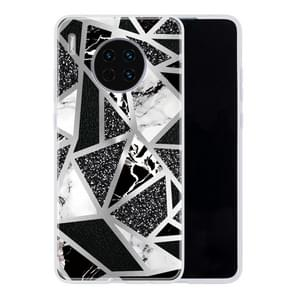 For Huawei Mate 30 Geometric Marble Series Frosted Translucent TPU Protective Case(Black White Grey)