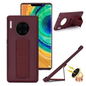 For Huawei Mate 30 Shockproof PC + TPU Protective Case with Wristband & Holder(Brown)