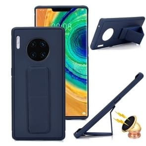 For Huawei Mate 30 Pro Shockproof PC + TPU Protective Case with Wristband & Holder(Navy Blue)