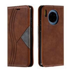 For Huawei Mate 30 Splicing Color Magnetic Hem Horizontal Flip Leather Case with Holder & Card Slots(Brown)