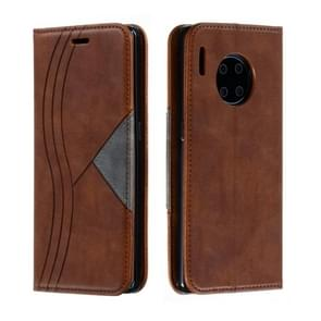 For Huawei Mate 30 Pro Splicing Color Magnetic Hem Horizontal Flip Leather Case with Holder & Card Slots(Brown)