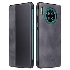 Voor Huawei mate 30 Crazy Horse textuur Smart view venster horizontale Flip lederen draagtas (zwart)