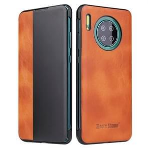Voor Huawei mate 30 Crazy Horse textuur Smart view venster horizontale Flip lederen draagtas (bruin)