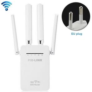 Draadloze Smart WiFi-router repeater met 4 WiFi-antennes  stekker specificatie: EU-stekker (wit)