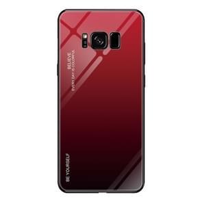 Voor Galaxy S8 Gradient Color Glass Case(Rood)