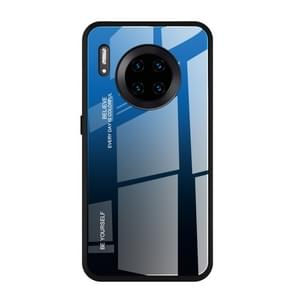 For Huawei Mate 30 Pro Gradient Color Glass Case(Blue)