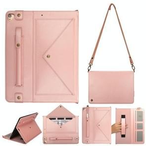 Voor iPad Pro 12 9 inch (2017) Envelop Horizontale Flip PU Lederen Hoes met kaartsleuven & pensleuven & houder & portemonnee & fotoframe & schouderband(Rose Gold)