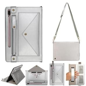For Galaxy Tab S6 10.5 / T860 / 865 Envelope Horizontal Flip PU Leather Case with Card Slots & Pen Slots & Holder & Wallet & Photo Frame & Shoulder Strap(Silver)