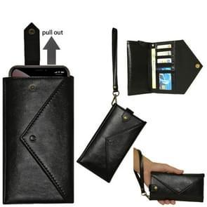 For 4.7 - 5.2 inch Phones Envelope Horizontal Flip PU Leather Case with Card Slots & Pen Slots & Holder & Wallet & Photo Frame & Shoulder Strap(Black)