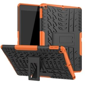 For iPad 10.2 inch Tire Texture TPU + PC Shockproof Case with Holder(Orange)