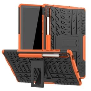 For Galaxy Tab S6 Tire Texture TPU + PC Shockproof Case with Holder(Orange)